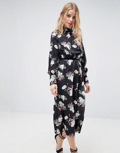 Платье миди с бархатной отделкой и цветочным принтом Influence - Черный