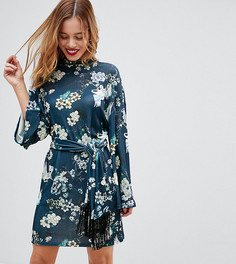 Платье с принтом, рукавами-кимоно и поясом ASOS PETITE - Мульти