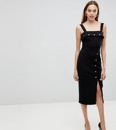 Платье миди с пуговицами ASOS TALL - Черный