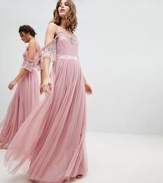 Платье макси из тюля с открытыми плечами и пайетками Maya - Розовый
