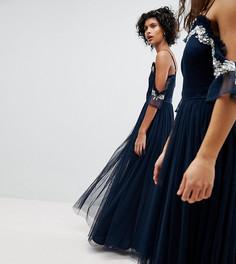 Платье макси из тюля с открытыми плечами и пайетками Maya - Темно-синий