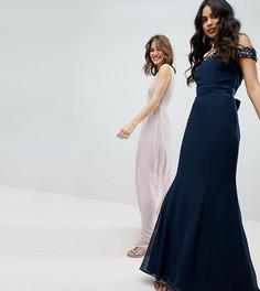 Платье макси с открытыми плечами и пайетками Maya - Темно-синий