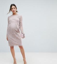 Кружевное платье-футляр миди с длинными рукавами ASOS Maternity - Розовый