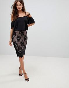 Кружевная юбка-карандаш Parisian - Черный