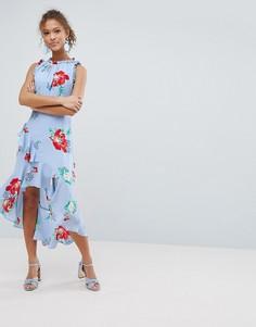 Платье миди с цветочным принтом и оборками Miss Selfridge - Синий