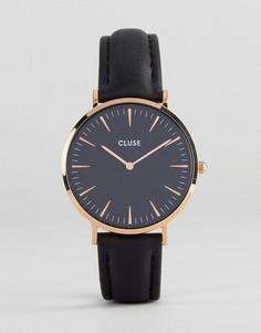 Черные часы с кожаным ремешком CLUSE CL18001 La Bohème - Черный