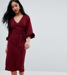 Платье миди с оборками на широких рукавах ASOS PETITE - Красный