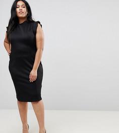 Платье-футляр миди с высоким воротом и вырезом на спине ASOS CURVE - Черный