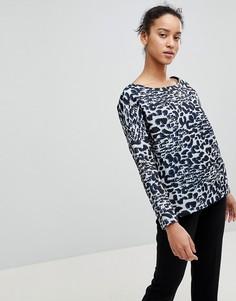 Лонгслив свободного покроя с леопардовым принтом See U Soon - Серый