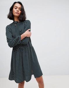 Платье с геометрическим принтом и бантом See U Soon - Зеленый