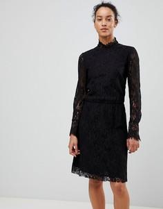 Кружевное платье с высоким воротом See U Soon - Черный