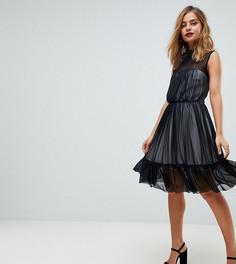 Короткое приталенное платье с высоким воротом и контрастной подкладкой John Zack Petite - Черный