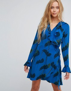 Платье с запахом и цветочным принтом Liquorish - Синий