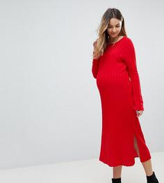 Платье миди в широкий рубчик ASOS Maternity - Красный