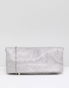 Клатч с отделкой камнями Skinnydip - Серебряный