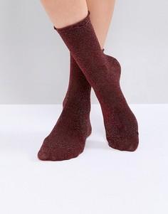 Носки металлик Monki - Красный