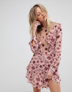 Платье мини с глубоким вырезом и цветочным принтом For Love and Lemons - Розовый