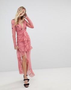 Кружевное платье миди с глубоким вырезом For Love and Lemons - Розовый