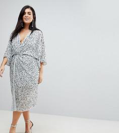 Платье миди в стиле кимоно с пайетками ASOS CURVE - Серый
