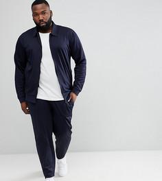 Темно-синий спортивный костюм с курткой Харрингтон и зауженными джоггерами ASOS PLUS - Темно-синий