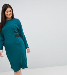 Платье миди с эластичным поясом ASOS CURVE - Зеленый