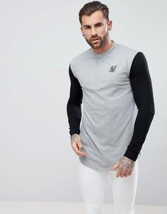 Серый обтягивающий лонгслив с контрастными рукавами SikSilk - Серый