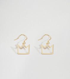 Серебряные серьги в виде корон с покрытием 19-каратным золотом Serge DeNimes - Золотой