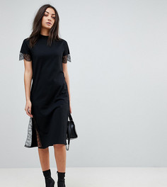 Платье-футболка миди с кружевными вставками ASOS TALL - Черный