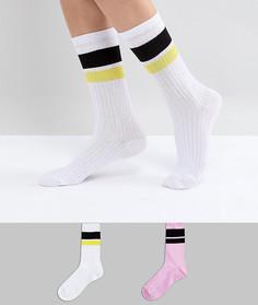 Набор из 2 пар высоких носков с полосками ASOS - Мульти