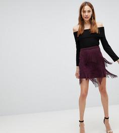 Мини-юбка с бахромой ASOS TALL - Серый