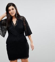 Кружевное платье мини с глубоким вырезом ASOS CURVE - Мульти