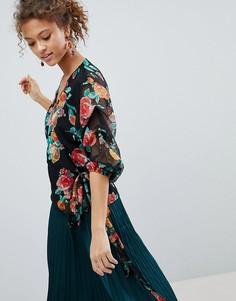 Блузка с запахом и цветочным принтом Miss Selfridge - Мульти