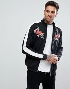 Черная куртка с цветочной вышивкой и полосками на рукавах boohooMAN - Черный