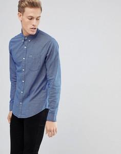 Синяя узкая оксфордская рубашка в клетку на пуговицах с логотипом-чайкой Hollister - Синий