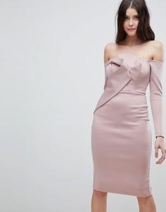 Платье-бандо миди с длинными рукавами и складками ASOS - Розовый