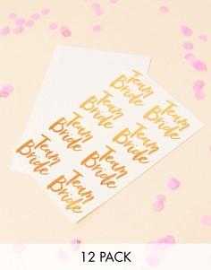 Смываемая татуировка Team Bride золотисто-розового цвета Ginger Ray - 12 шт. - Мульти