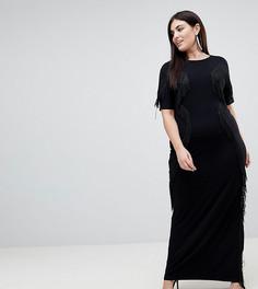 Платье макси с бахромой ASOS CURVE - Черный