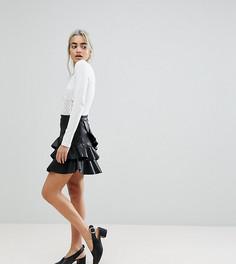 Мини-юбка из искусственной кожи с оборками Vero Moda Petite - Черный