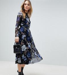 Сетчатое платье миди с цветочным принтом Y.A.S Tall - Мульти
