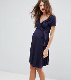 Платье с запахом и оборкой New Look Maternity - Темно-синий