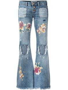 расклешенные джинсы с принтом орхидей One Teaspoon
