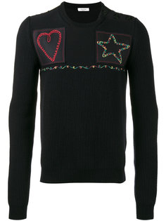 трикотажный свитер с нашивками Valentino