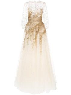 платье с вышивкой пайетками  Oscar de la Renta