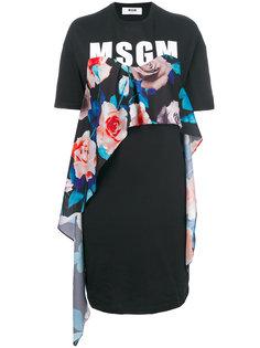 платье-футболка с логотипом и цветочным принтом  MSGM