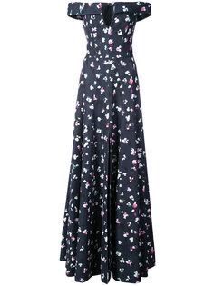 платье с открытыми плечами и принтом  Carolina Herrera