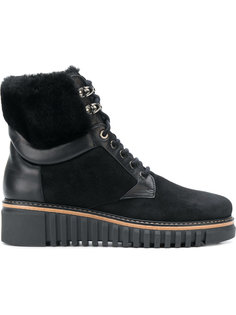 fur and leather trim ankle boots Loriblu