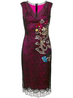 платье миди с вышивкой Ermanno Scervino