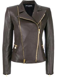 байкерская асимметричная куртка  Balmain