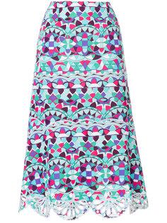 юбка-миди с ажурной отделкой и принтом Emilio Pucci