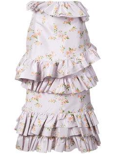 юбка миди с цветочным принтом и оборками  Brock Collection